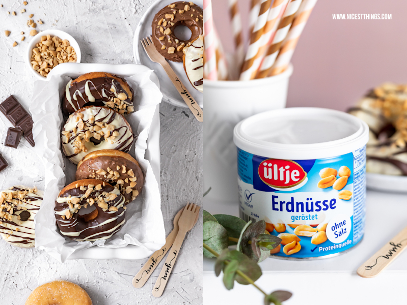 Erdnuss Donuts Rezept Doughnuts ültje Peanut Schokolade #donuts #doughnuts #erdnuss #erdnüsse #ültje #tagdererdnuss #erdnussparty #foodblogger