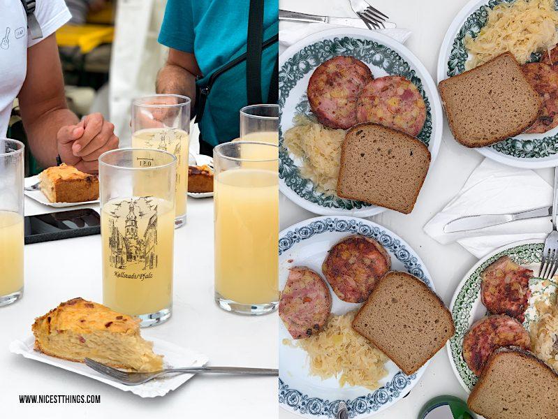 Zwiebelkuchen und Federweißer in Kallstadt Saumagenkerwe Saumagen Kerwe