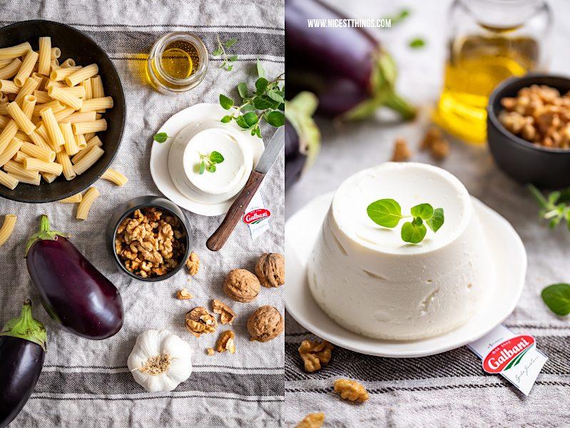 Auberginen Pasta Rigatoni Nudeln mit Ricotta und Walnüssen Galbani