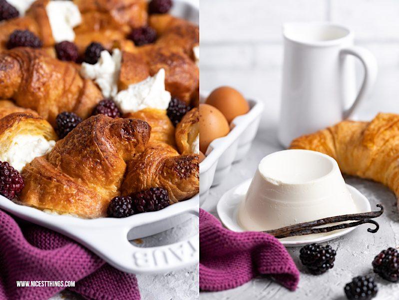 Croissant Auflauf mit Brombeeren und Ricotta Arme Ritter French Toast süßer Auflauf