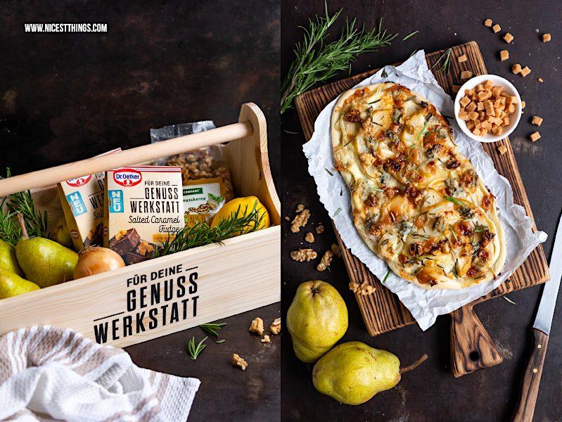 Dr. Oetker Genusswerkstatt Rezept Flammkuchen mit Birne Gorgonzola Karamell Walnüssen Rosmarin
