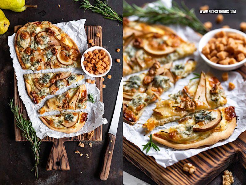 Flammkuchen mit Birne, Gorgonzola, Walnüssen, Karamell und Rosmarin