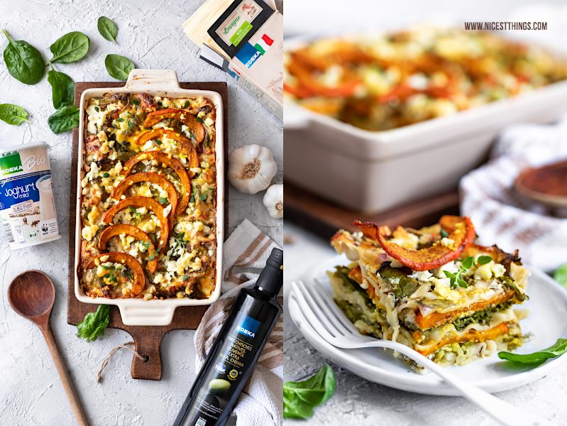"""Kürbis Lasagne Kürbislasagne Rezept vegetarisch mit Spinat aus dem Edeka Kochbuch """"Alles vegetarisch"""""""
