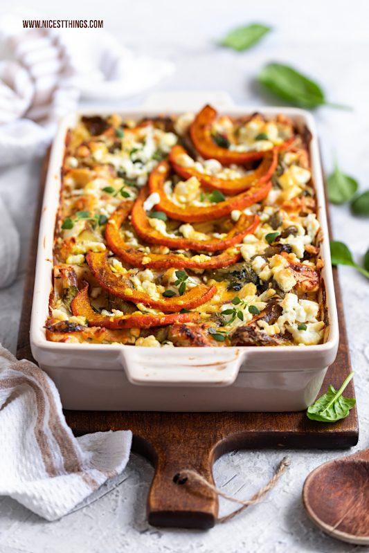 Kürbis Lasagne Kürbislasagne Rezept vegetarisch mit Spinat Wirsing Feta #kürbis #lasagne #kürbislasagne #kürbisrezepte #vegetarisch #ofenrezepte #herbstrezepte #pumpkin
