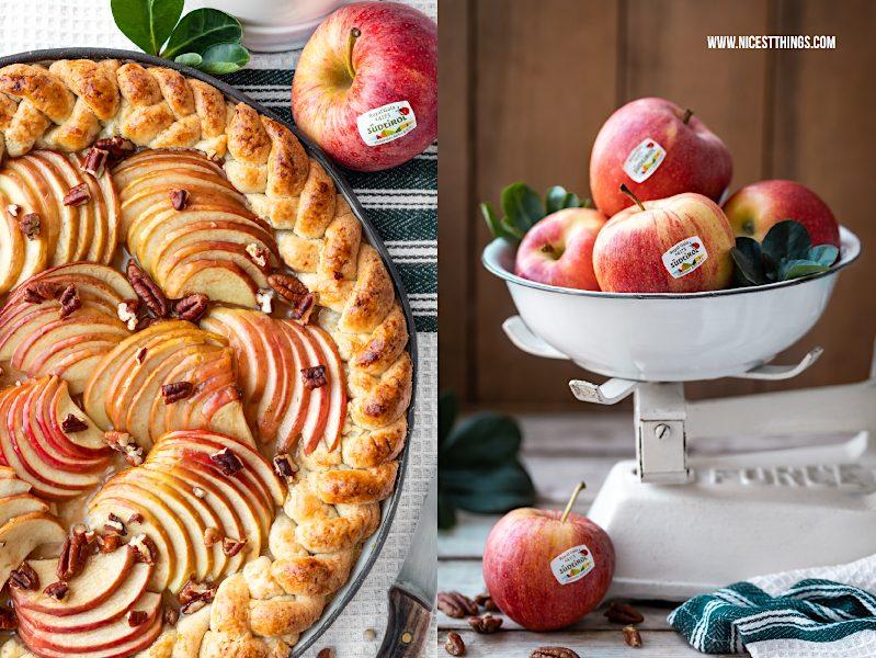 Apfeltarte Rezept mit Südtiroler Äpfeln, Vanillepudding, Pekannüssen, Ahornsirup Apple Pie Maple Pecan