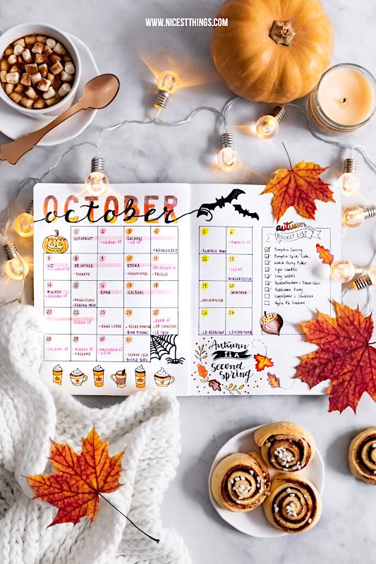 Bullet Journal Autumn Fall Flatlay October Spread #bulletjournal #bujo #spread #fall #autumn #october #flatlay