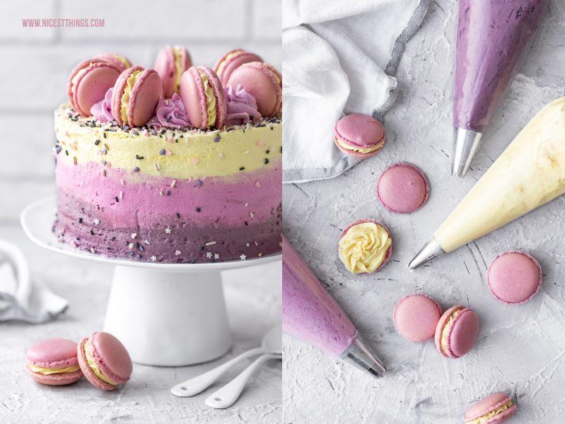 Macarons Torte Rezept Backen mit natürlichen Lebensmittelfarben von Eat A Rainbow