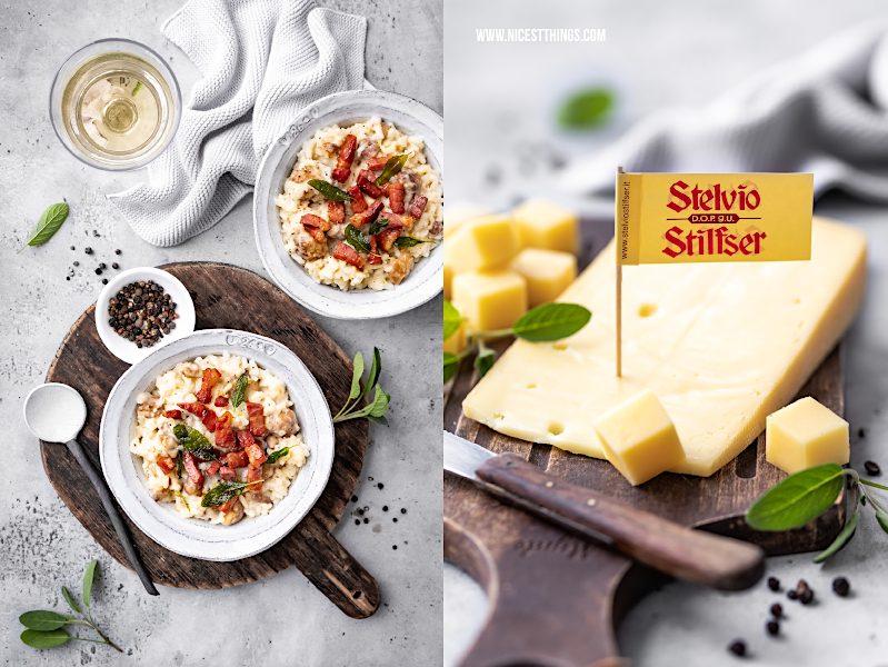 Maronen Risotto mit Stilfser Käse, Südtiroler Speck, Salbei mit Qualitaetsprodukten aus Suedtirol #risotto #maronen #salbei #stilfserkaese #speck #altoadige #QualitaetEuropa #EnjoyItsFromEurope #tastesouthtyrol