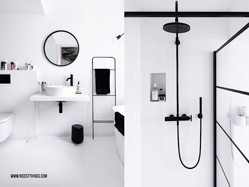 Badezimmer Loft schwarz weiss Umbra Spiegel rund schwarz Dornbracht Tara Duscharmatur