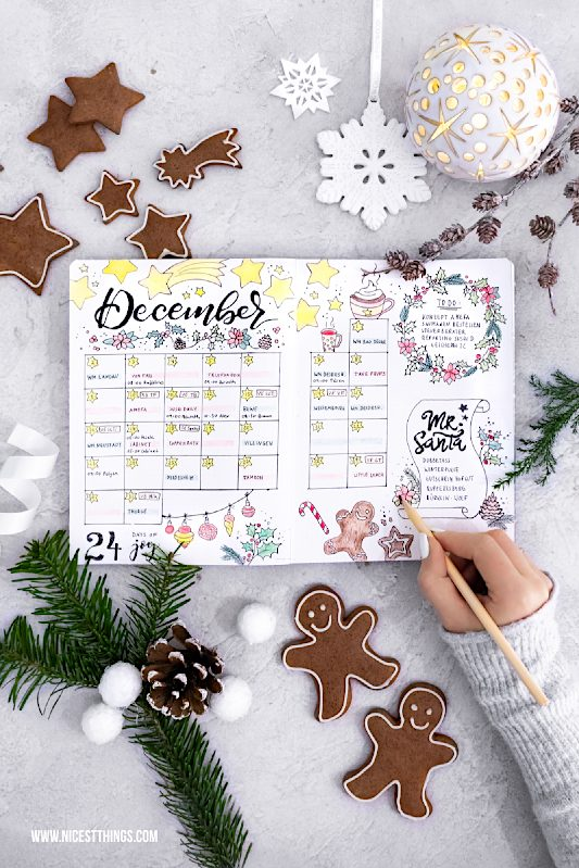 Dezember Flatlay December Spread Bullet Journal #bulletjournal #bujo #december #flatlay #dezember #monthlyspread #journal