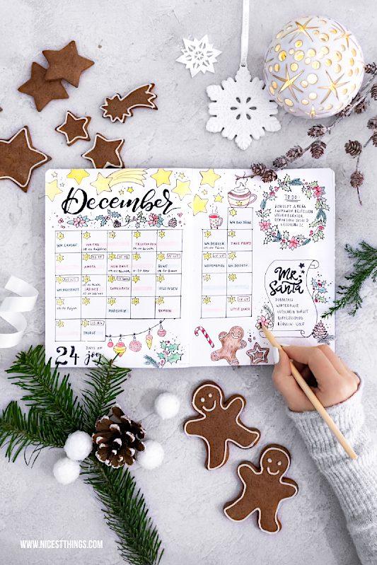 Dezember Flatlay December Spread Bullet Journal #bulletjournal #bujo #december #flatlay #dezember #monthlyspread #journal