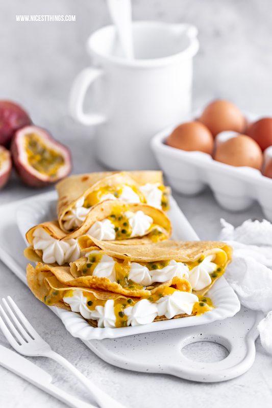 gesunde Pfannkuchen kalorienarme Pfannkuchen Rezept mit Maracuja Passionsfrucht #gesund #pfannkuchen #kalorienarm #abnehmen #crepes #maracuja #passionsfrucht #cleaneating