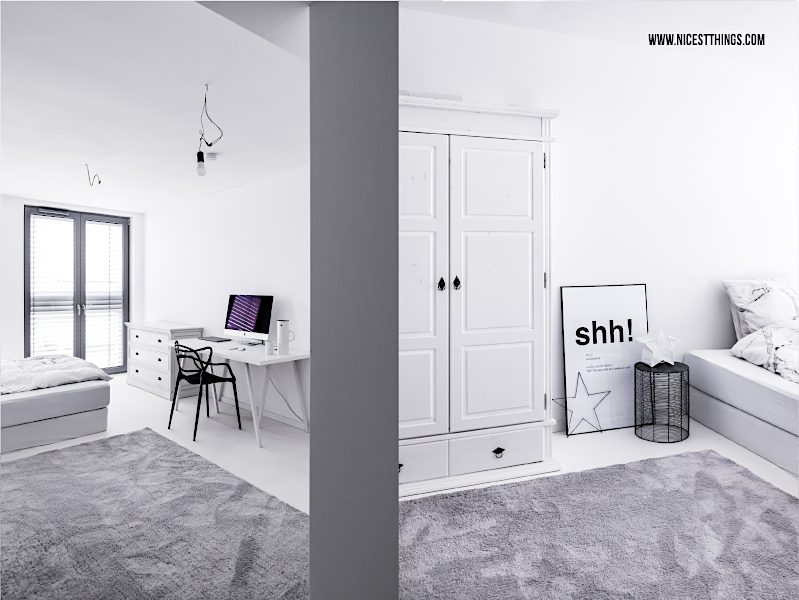 Schlafzimmer schwarz weiss Loft Schreibtisch Bauernschrank