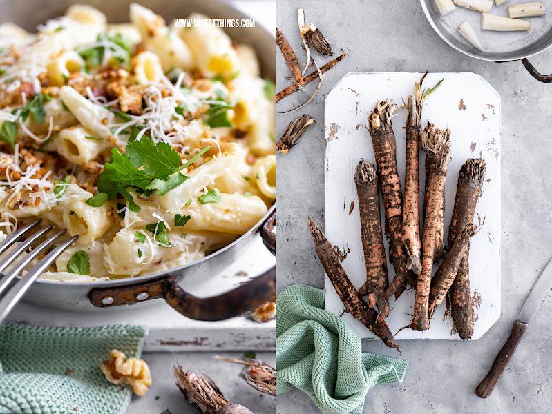 Schwarzwurzel Pasta Schwarzwurzel Rezept Nudeln mit Rahmsauce und Walnuessen