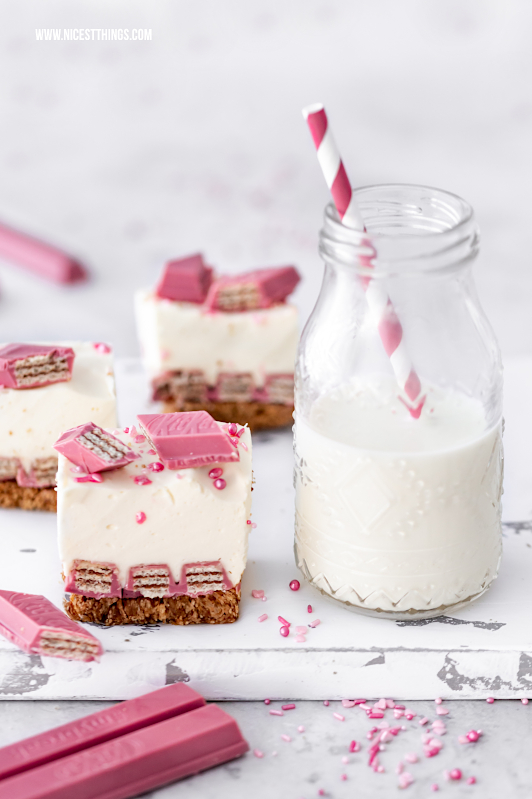 KitKat Cheesecake Rezept mit KitKat Ruby Chocolate #kitkat #ruby #kitkatruby #rubychocolate #cheesecake #käsekuchen