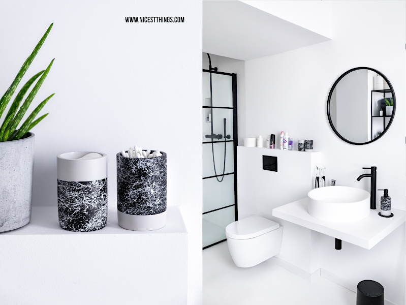 Badezimmer Accessoires Marmor Look schwarz weiss