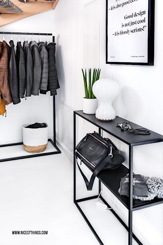 Flur Eingangsbereich Garderobe Kleiderständer Metall schwarz