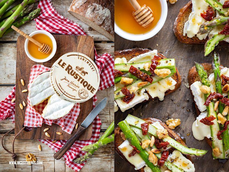 Le Rustique Camembert Rezept belegtes Brot mit grünem Spargel, Honig, Nüssen
