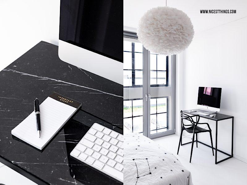 Schreibtisch Marmor schwarz Metall