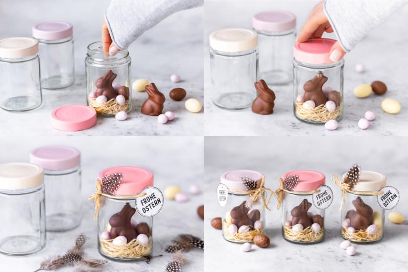 Osternest im Glas basteln DIY Ostern Ostergeschenk Nest im Marmeladenglas Anleitung