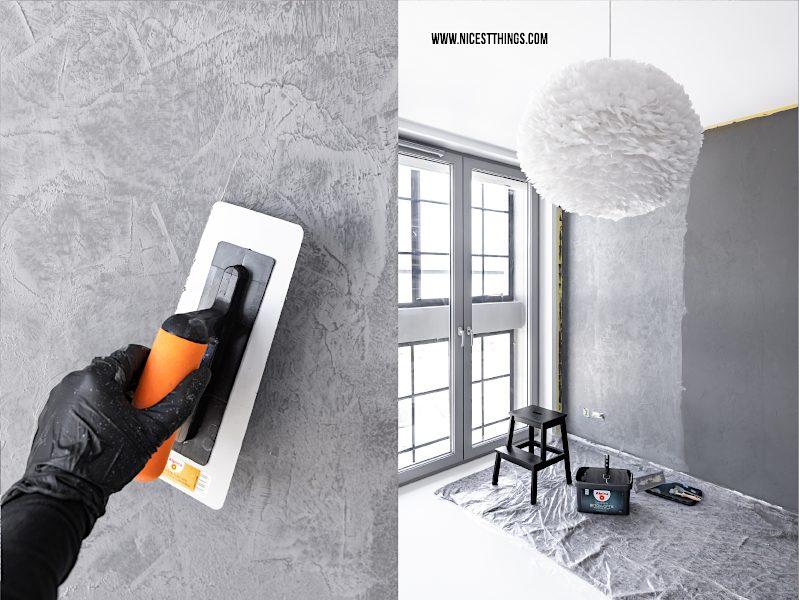Alpina Beton-Optik Wandfarbe Wand in Betonoptik streichen Erfahrungen Arbeitszimmer Working Space Home Office