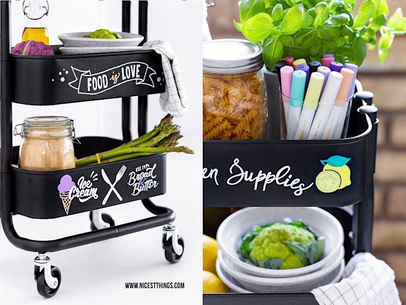 Ikea Hack Rashult Servierwagen DIY Küchenwagen Rollwagen mit Lettering mit PILOT PINTOR Stiften gestalten