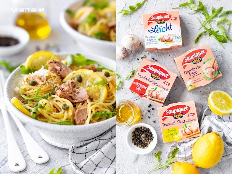 Spaghetti mit Thunfisch Spaghetti Rezept mit Zitrone, Kapern, Rucola, Parmesan, Saupiquet Thunfisch-Filets