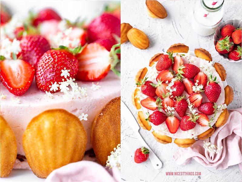 Charlotte mit Madeleines, Erdbeeren und Holunderblüten Rezept
