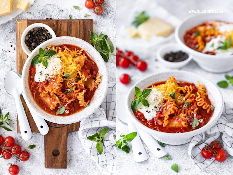 Lasagnesuppe vegetarisch Rezept Lasagne Suppe schnell einfach Feierabendküche schnelle Rezepte