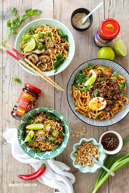 Chinesische Nudeln mit Toppings, vegan und nicht vegan Rezept - schnell, einfach, mit authentischem Geschmack. Spicy Summer Noodles #chinesisch #nudeln #chinesischenudeln #vegan #veganerezepte #asiatisch #LKKsummerstories #summerstories