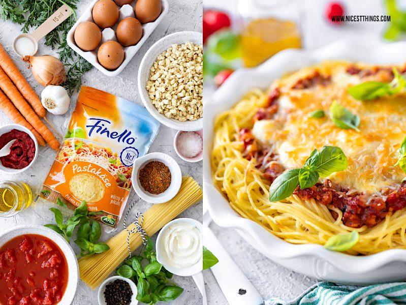 Spaghetti-Auflauf Spaghettiauflauf Rezept vegetarisch vegetarische Bolognese Käse #spaghettiauflauf #spaghetti #auflauf #finello #aberbittemitkäse #vegetarisch #bolognese #ofengerichte