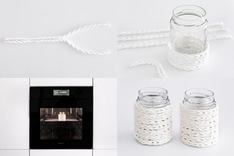DIY Fimo Windlicht Strick Optik Chunky Knit Maintal Marmeladengläser #diy #fimo #windlicht #mmodelliermasse #strick #knit #chunkyknit #maintal #marmeladenglas