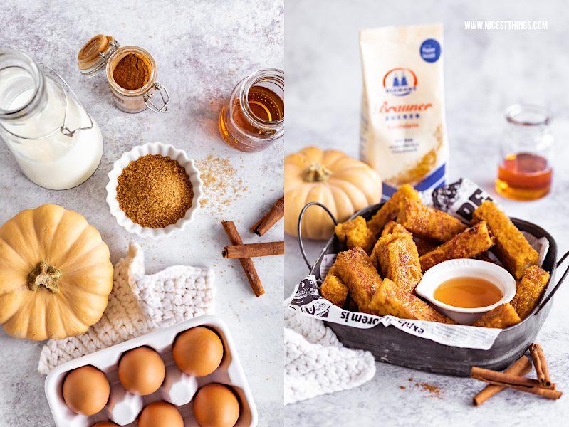 Pumpkin French Toast Sticks Rezept mit Kürbis Zimt brauner Zucker #pumpkin #frenchtoast #kürbis #armeritter #kürbisrezepte #frühstück #diamantzucker #metime #soulfood
