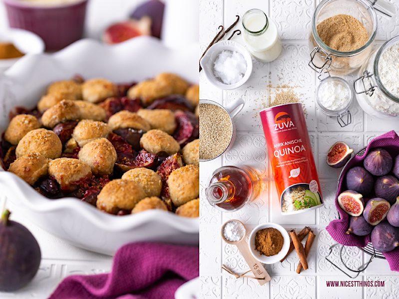 Cobbler Rezept vegan Quinoa Cobbler mit Feigen #cobbler #vegan #quinoa #feigen #ZUVA #ZUVAquinoa #sunkissed #superfood #healthyrecipes