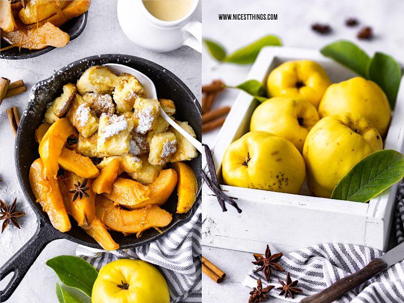 Quitten Dessert, Quittenrezept: Quitten vom Blech mit Vanille und Zimt und Kaiserschmarrn #quitten #dessert #quittenrezept #quince #kaiserschmarrn #blech #zimt #vanille #nachtisch