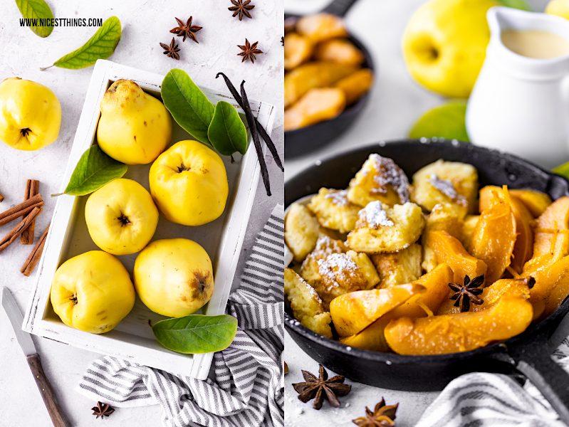 Quittenrezept vom Blech mit Vanille und Zimt und Kaiserschmarrn #quitten #dessert #quittenrezept #quince #kaiserschmarrn #blech #zimt #vanille #nachtisch
