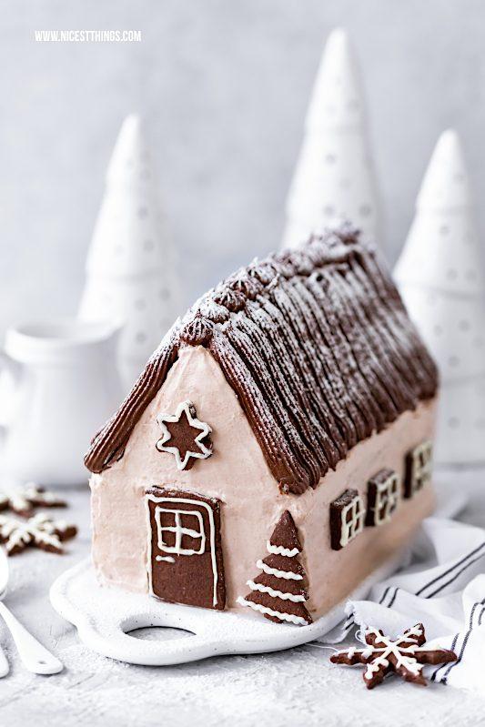 Haus Torte Bûche Chalet Häuschen Torte Weihnachtstorte mit Zimt #torte #weihnachten #chalet #buche #weihnachtstorte #häuschen #weihnachtsrezepte #tortenrezepte #cakeart #buchedenoel