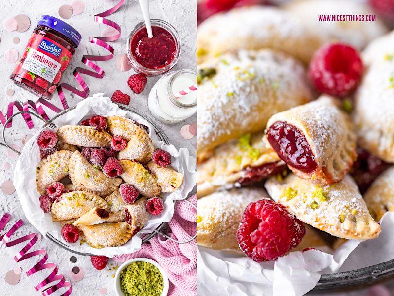Suesse Ravioli süße Ravioli mit Himbeeren Himbeer Aufstrich Maintal 50% weniger Zucker weisse Schokolade Pistazien Rezept Karneval Fasching Fastnacht