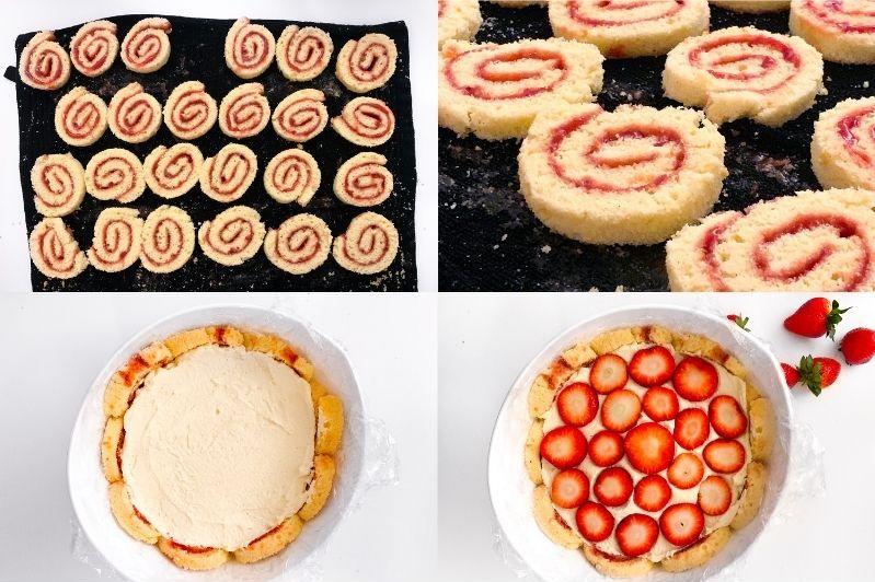 Erdbeer Charlotte Pompadour Biskuitrolle Rouladenbiskuit