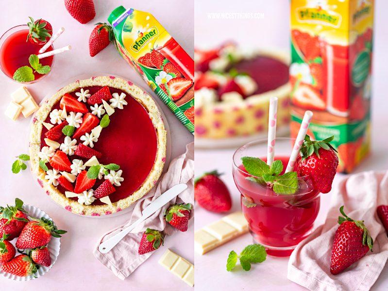 Erdbeertorte mit Biskuitboden Rezept Erdbeeren Torte gepunkteter Biskuit Mascarpone Pfanner Fruchtsaft Erdbeere #erdbeertorte #biskuitboden #erdbeeren #torte #biskuit #erdbeerrezept #backrezepte #gepunkteterbiskuit #biskuitrolle #pfanner #fruchtsaft #genussbiszumletztentropfen
