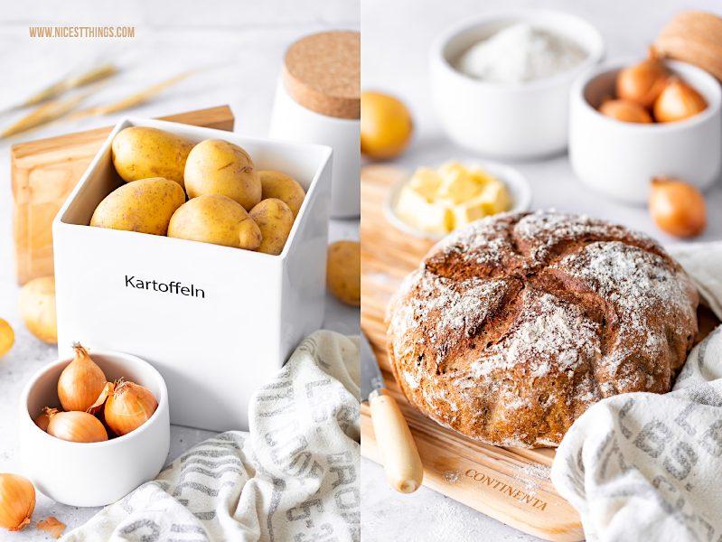 Kartoffelbrot backen mit CONTINENTA Brottopf für Brot Vorratsdosen Keramik Korkdeckel Holzbretter Schneidebretter