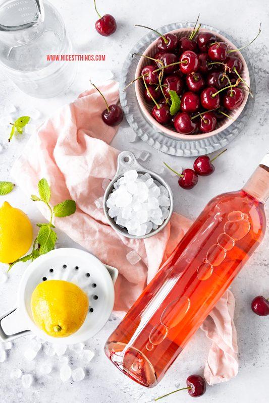 Frosé Rezept Frozen Rosé mit Kirschen und Kandis #frose #frosé #frozenrose #cocktail #sommerdrink #diamant #kandis #diamantzucker #kandisrezepte #Glückisthomemade